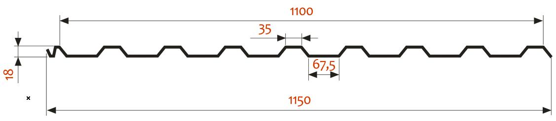 КРОВЕЛЬНЫЙ ПРОФНАСТИЛ П-20(R)–1000