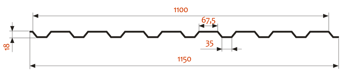 CТЕНОВОЙ ПРОФНАСТИЛ П–20 (A)–1100